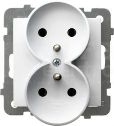 AS 2x2P+Z IP20 biały Gniazdo podwójne
