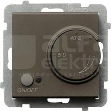 SONATA czekoladowy metal Regulator temperatury z czujnikiem podpodłog.