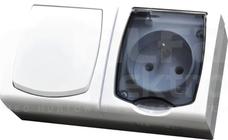 MADERA 16AX IP44 biały Zestaw łącznik pojedynczy+gniazdo