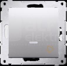 SIMON54 10AX srebrny mat Przycisk dzwonek podświetlany LED