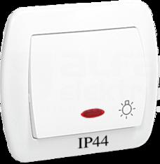 AKORD IP44 biały Przycisk światło podświetlany