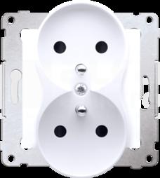 SIMON54 2x2P+Z 16A biały Gniazdo z przesłonami styków zaciski śrubowe