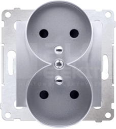SIMON54 2x2P+Z 16A srebrny mat Gniazdo z przesłonami styków zaciski śrubowe