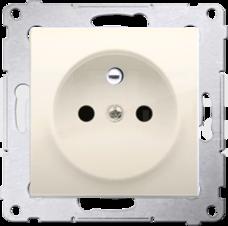 SIMON54 2P+Z 16A kremowy Gniazdo z przesłonami styków zaciski śrubowe