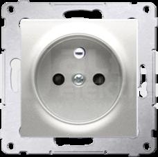 SIMON54 2P+Z 16A srebrny mat Gniazdo z przesłonami styków zaciski śrubowe