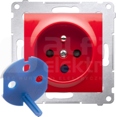 SIMON54 2P+Z 16A DATA czerwony Gniazdo z kluczem