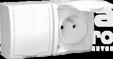 AQUARIUS 2x2P+Z IP54 biały Gniazdo klapka biała