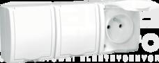 AQUARIUS 3x2P+Z IP54 biały Gniazdo klapka biała