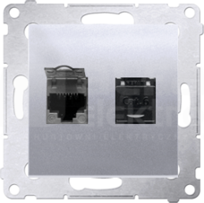 SIMON54 2xRJ45 kat.6 srebrny mat Gniazdo komputerowe