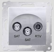 SIMON54 srebrny mat Gniazdo SAT-SAT-RTV