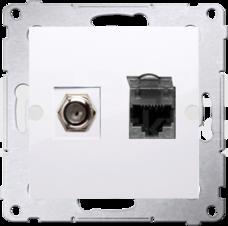 SIMON54 biały Gniazdo antenowe typu F+RJ45 kat.6