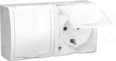 AQUARIUS 2xSCHUKO IP54 biały Gniazdo klapka biała