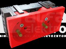 45x90 2x2P+Z 45D czerwony Gniazdo elektryczne