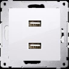 SIMON54 2,1A/5VDC biały Ładowarka 2xUSB