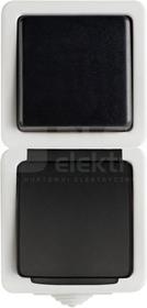 TEKNO 05-3121-143 czarny Łącznik jednobiegunowy z gniazdem