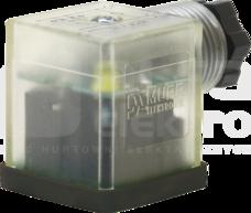 SVS ECO 18mm 230V M16x1,5 LED+VDR Wtyk zaworowy typ A skręcalny zaciski śrubowe