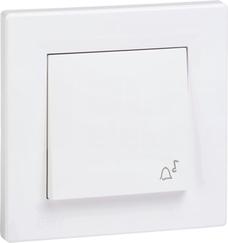 ASFORA IP44 biały Przycisk dzwonek z ramką