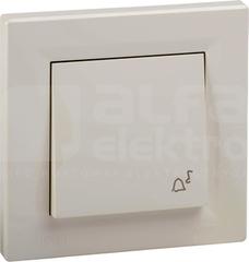ASFORA IP44 kremowy Przycisk dzwonek z ramką
