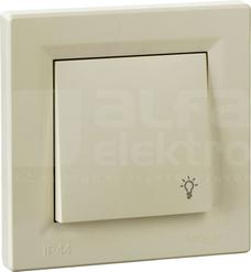 ASFORA IP44 kremowy Przycisk światło z ramką
