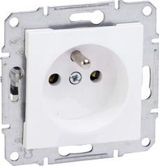 ASFORA 2P+Z biały Gniazdo sieciowe bez ramki