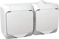CEDAR PLUS 2x2P+Z IP44 biały Gniazdo sieciowe
