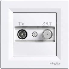ASFORA 1dB biały Gniazdo TV-SAT końcowe z ramką