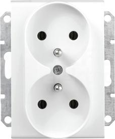 SEDNA 2x2P+Z biały Gniazdo sieciowe do ramek