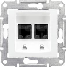 SEDNA 2xRJ45 kat.5e biały Gniazdo komputerowe
