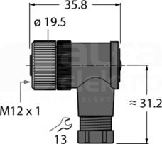 B8241-0 Złącze żeńskie rozbieralne kątowe