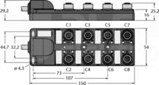 TB-8M12-5P3-5/TXL Koncentrator pasywny 8-portowy