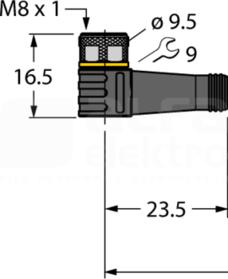 PKW3M-5/TXL złącze M8 żeń.kątowe Przewód czujnikowy PUR 3-żył.5,0m