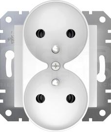 ASFORA 2x2P+Z biały Gniazdo sieciowe bez ramki