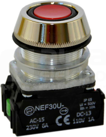 NEF30-UKc XY czerwony Przycisk sterown.kr.szczelny